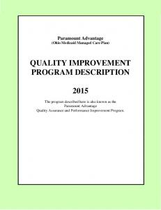 QUALITY IMPROVEMENT PROGRAM DESCRIPTION