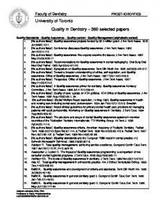 Quality in Dentistry 360 selected papers