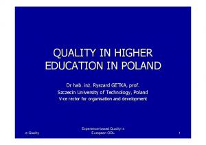 QUALITY IN HIGHER EDUCATION IN POLAND