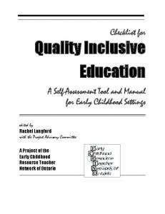 Quality Inclusive Education