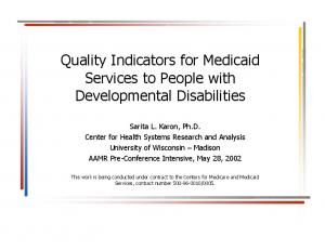 Quality Indicators for Medicaid Services to People with Developmental Disabilities