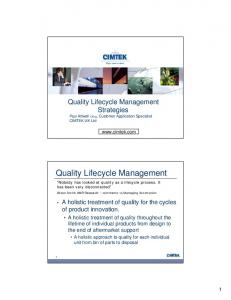 Quality Lifecycle Management