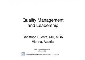 Quality Management and Leadership