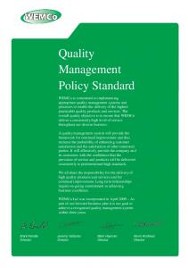 Quality Management Policy Standard