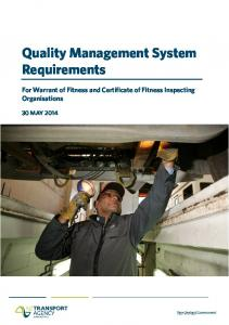 Quality Management System Requirements
