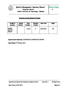 Quality Management Systems Manual Control Copy