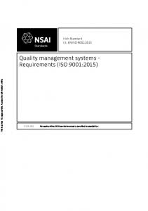 Quality management systems - Requirements (ISO 9001:2015)