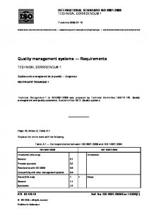 Quality management systems Requirements