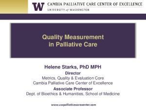 Quality Measurement in Palliative Care