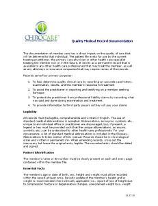 Quality Medical Record Documentation