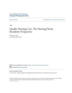 Quality Nursing Care: The Nursing Home Residents' Perspective