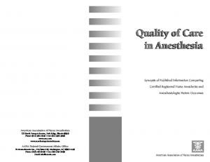 Quality of Care in Anesthesia