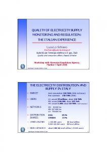 QUALITY OF ELECTRICITY SUPPLY MONITORING AND REGULATION: THE ITALIAN EXPERIENCE