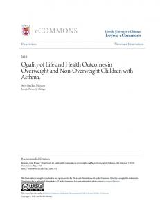 Quality of Life and Health Outcomes in Overweight and Non-Overweight Children with Asthma