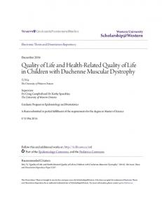 Quality of Life and Health-Related Quality of Life in Children with Duchenne Muscular Dystrophy