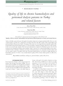 Quality of life in chronic haemodialysis and peritoneal dialysis patients in Turkey and related factors