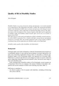 Quality of life in Disability Studies
