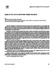 QUALITY OF LIFE IN EGYPTIAN STOMA PATIENTS