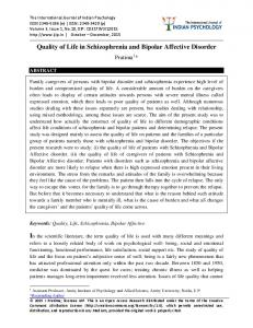 Quality of Life in Schizophrenia and Bipolar Affective Disorder