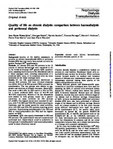 Quality of life on chronic dialysis: comparison between haemodialysis and peritoneal dialysis