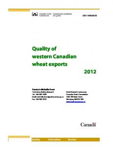 Quality of western Canadian wheat exports 2012