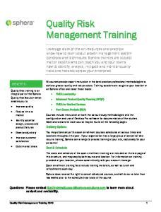 Quality Risk Management Training