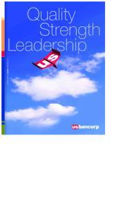Quality Strength Leadership. U.S. Bancorp 2009 Annual Report