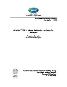 Quality TVET in Higher Education: A Case for Malaysia