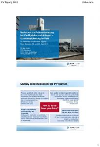 Quality Weaknesses in the PV Market