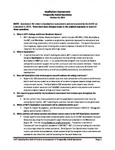 QualityCore Assessments Frequently Asked Questions October 22, 2012