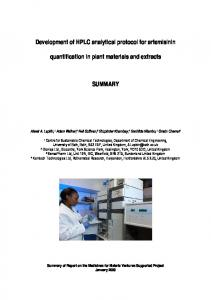 quantification in plant materials and extracts SUMMARY