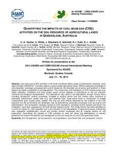 QUANTIFYING THE IMPACTS OF COAL SEAM GAS (CSG)