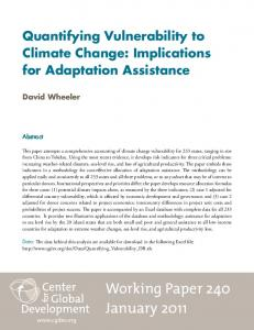 Quantifying Vulnerability to Climate Change: Implications for Adaptation Assistance