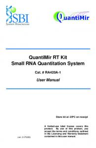 QuantiMir RT Kit Small RNA Quantitation System