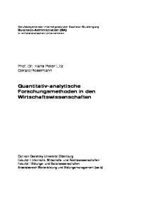Quantitativ-analytische Forschungsmethoden in den Wirtschaftswissenschaften