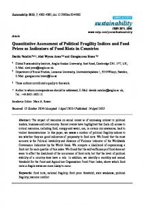 Quantitative Assessment of Political Fragility Indices and Food Prices as Indicators of Food Riots in Countries