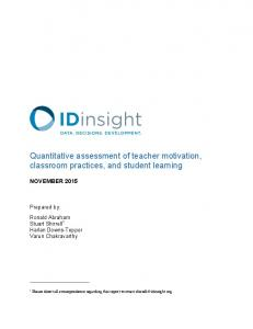 Quantitative assessment of teacher motivation, classroom practices, and student learning