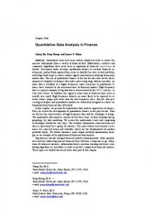 Quantitative Data Analysis in Finance