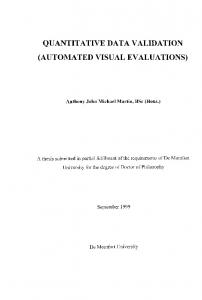 QUANTITATIVE DATA VALIDATION (AUTOMATED VISUAL EVALUATI,ONS)