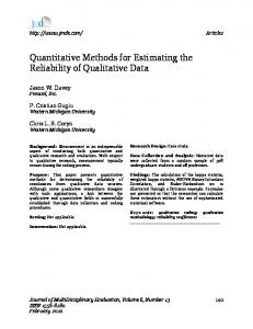 Quantitative Methods for Estimating the Reliability of Qualitative Data