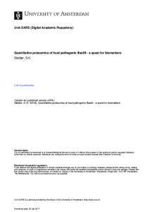 Quantitative proteomics of food pathogenic Bacilli - a quest for biomarkers Stelder, S.K