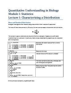 Quantitative Understanding in Biology Module I: Statistics Lecture I: Characterizing a Distribution