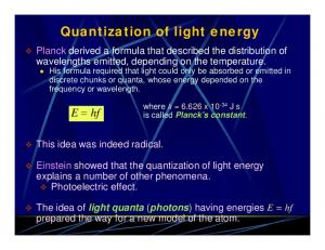 Quantization of light energy