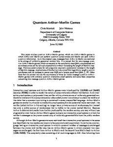 Quantum Arthur Merlin Games