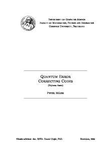 Quantum Error Correcting Codes (Diploma thesis)