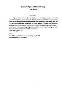 Quantum Physics and Nanotechnology