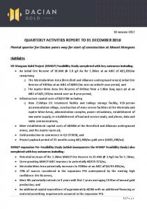 QUARTERLY ACTIVITIES REPORT TO 31 DECEMBER 2016