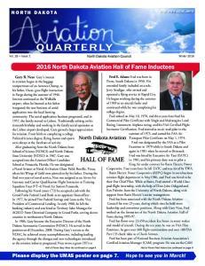 QUARTERLY North Dakota Aviation Hall of Fame Inductees NORTH DAKOTA. visit