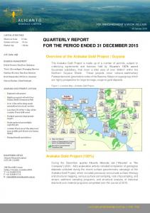QUARTERLY REPORT FOR THE PERIOD ENDED 31 DECEMBER 2015