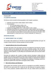 Quarterly Report For the period ending 31 December 2016